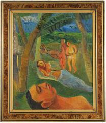 """""""Miami Beach"""" Expressionist Oil Landscape, 1940"""