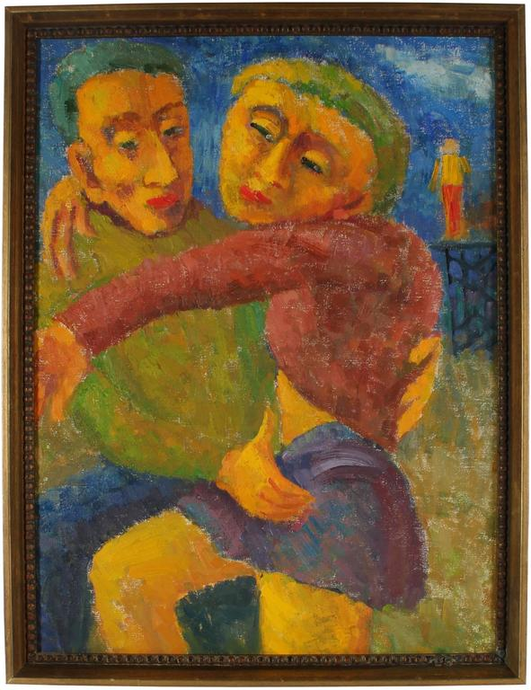 """""""Man and Woman"""" Expressionist Couple, Oil Painting, 1955"""