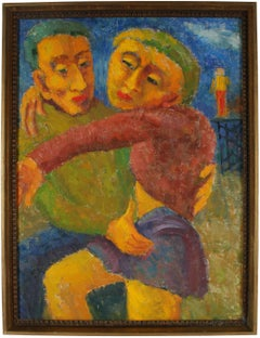 """Man and Woman"" Expressionist Couple, Oil Painting, 1955"