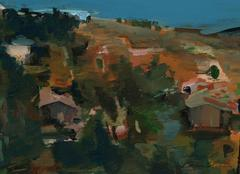 Los Angeles Hillside, Petite Oil Painting, Late 20th Century