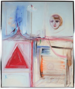 """""""Dilemma"""" Large Mid Century Oil Painting in Pale Blue"""