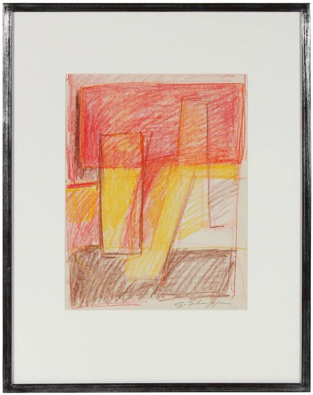 Gary Lee Shaffer Abstract Drawing - 1957 Abstract Pastel in Warm Tones