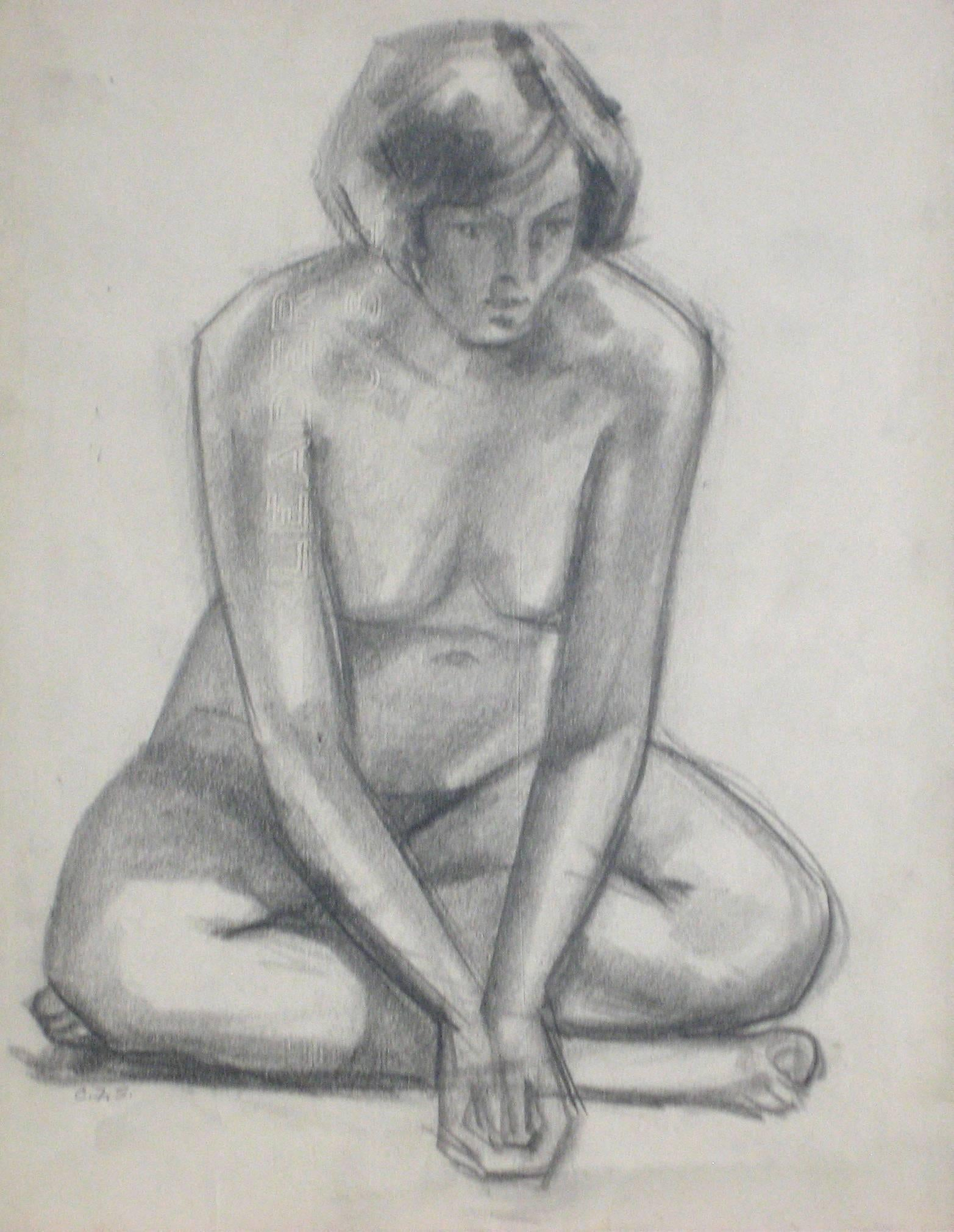 Seated Graphite Nude, Circa 1920s