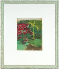 """A Group of Poinsettias"" C. 1920s Pastel"
