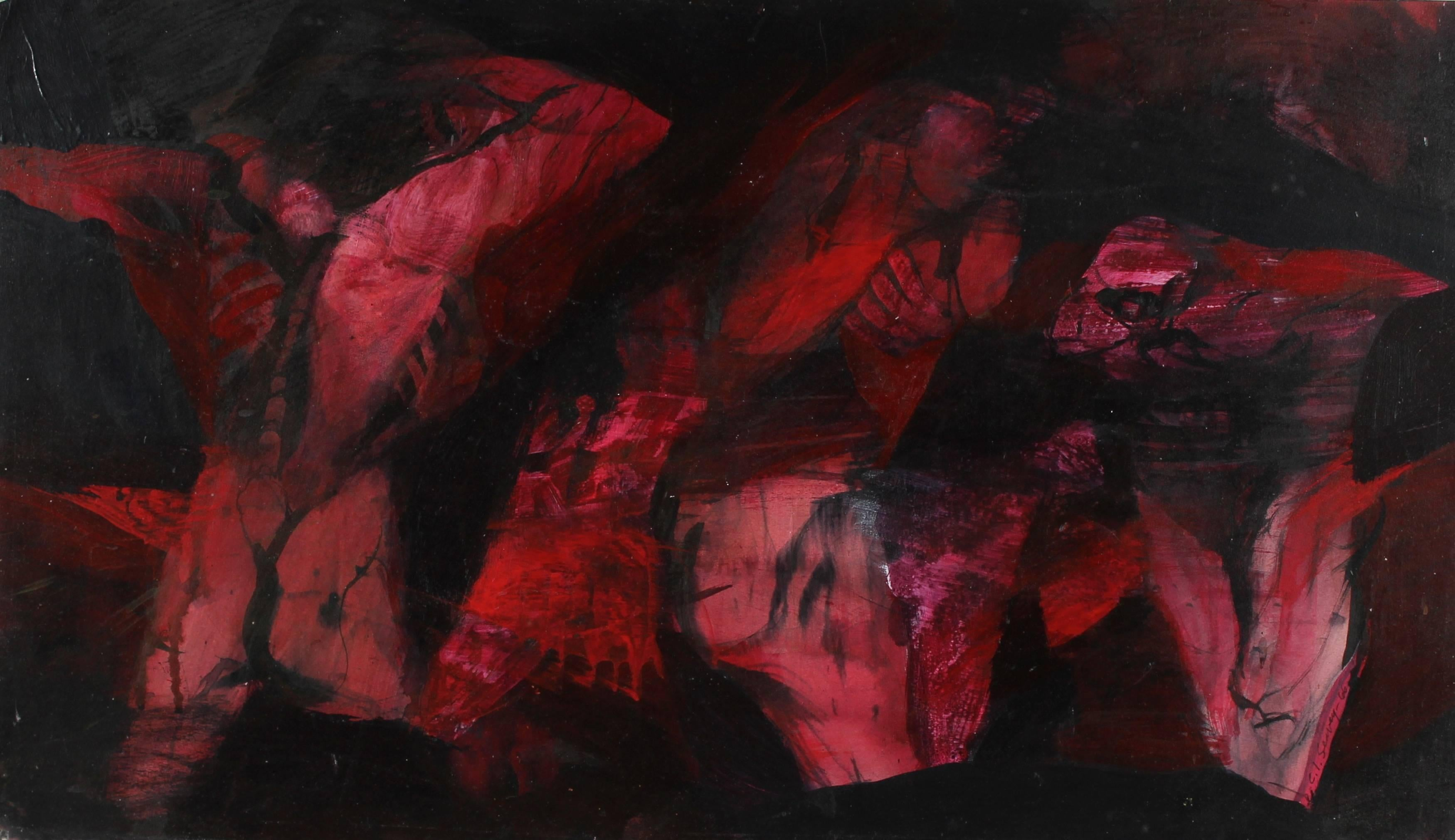 """""""Inferno Figures"""" Expressionist Abstract in Red Ink, 1960s"""