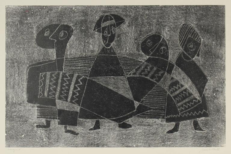 Jane Mitchell Figurative Print - Monochromatic Cubist Figures, Original Monotype Print, 1960s