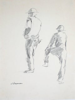 Construction Workers Graphite Drawing