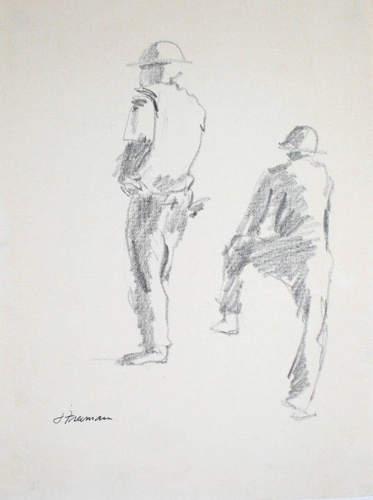 Jack Freeman Figurative Art - Construction Workers Graphite Drawing