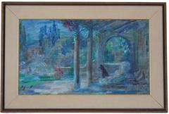 """Evening Garden, California"" Mid Century, Oil on Masonite"