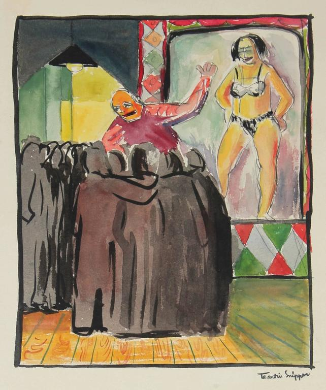 Martin Snipper Figurative Painting - Expressionist Stage Performer, New York, Watercolor Painting, Mid 20th Century