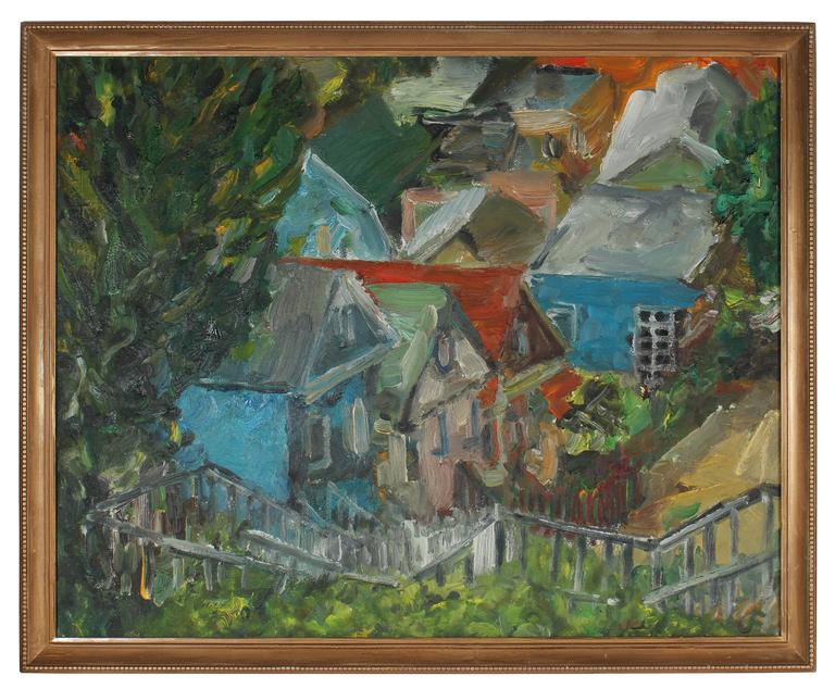 Jack freeman san francisco neighborhood oil on canvas for Atlanta oil painting artists