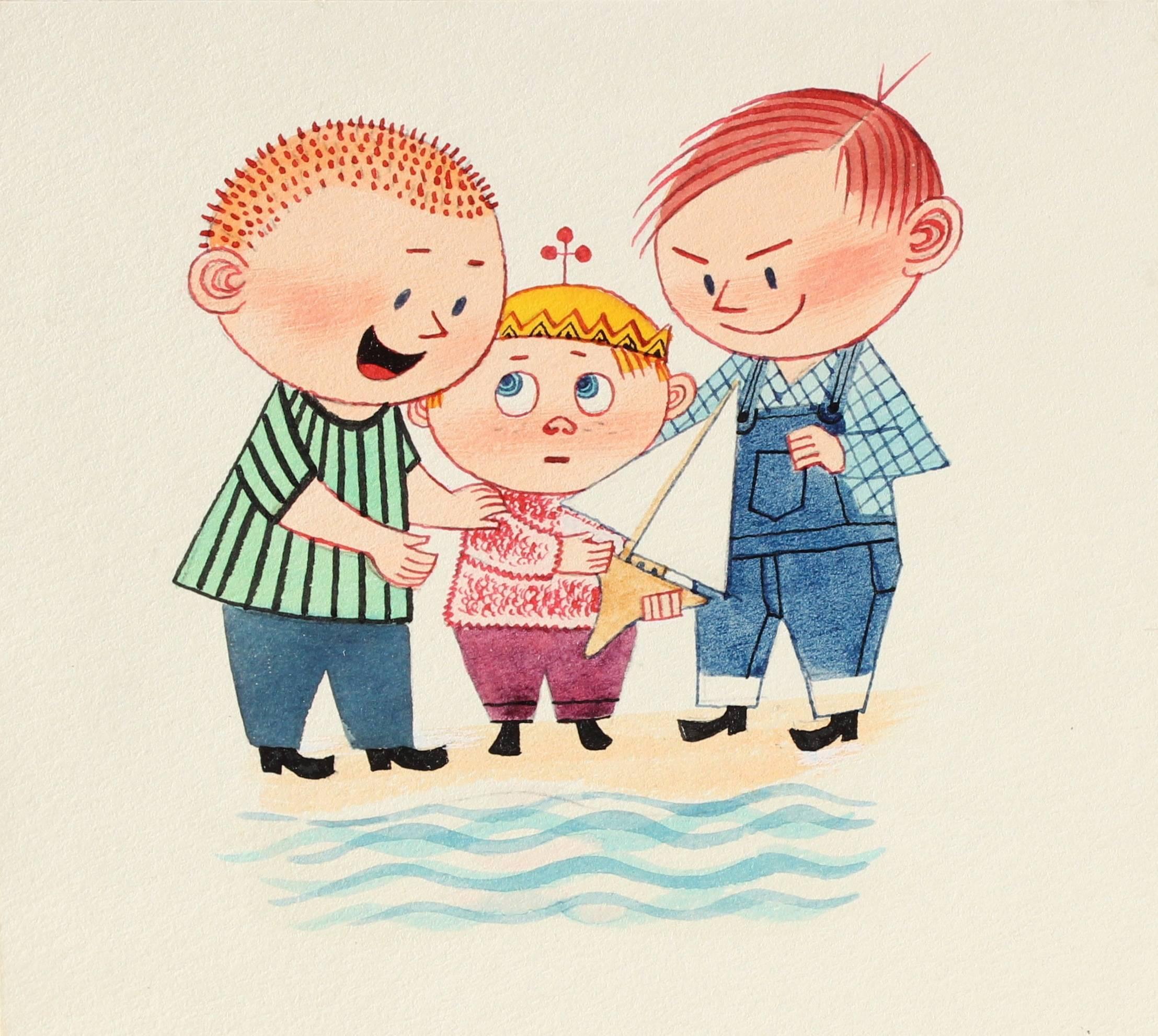 """Persuasion"" Illustration of Children, Gouache on Paper, Circa 1950s"
