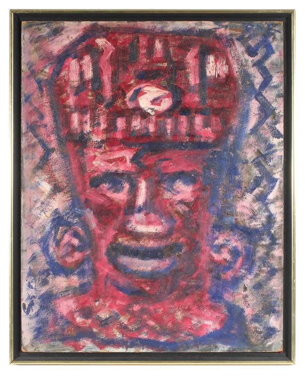 Puerto Rican Statue in Red, Oil on Masonite, Circa 1960s