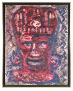Modernist Puerto Rican Portrait in Red, Oil Painting, 1960s