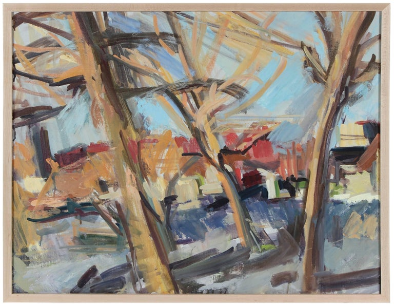 Hearne Pardee/ Gina Werfel Landscape Painting - City Through Trees, Late 20th Century Oil
