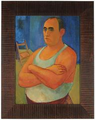 Modernist Portrait of a Man, Oil on Canvas, 1940s