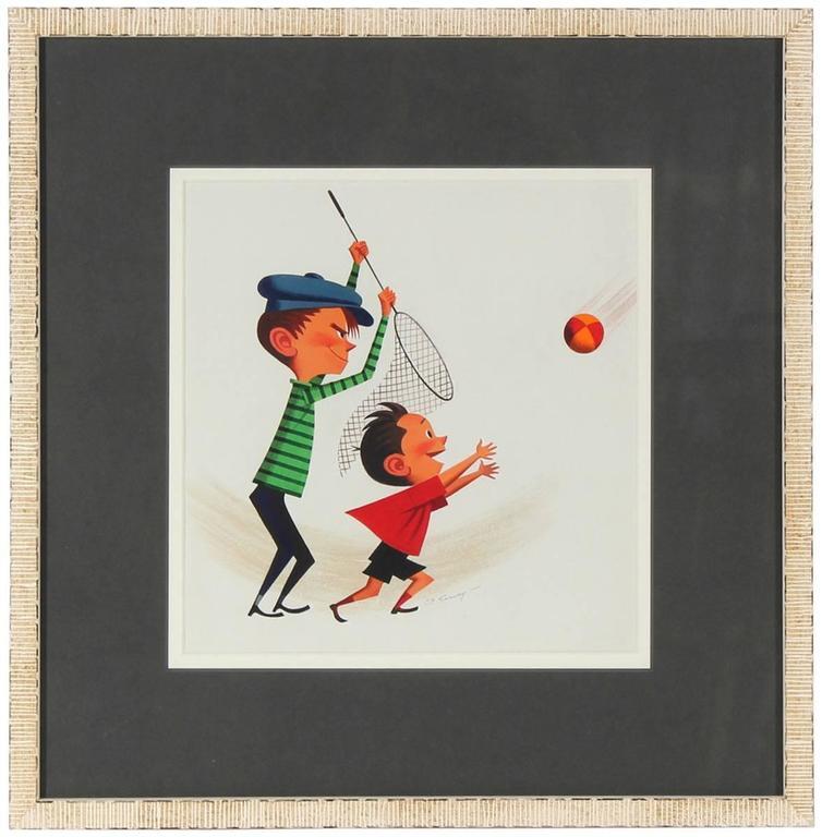 """The Catch"" Mid Century Illustration"