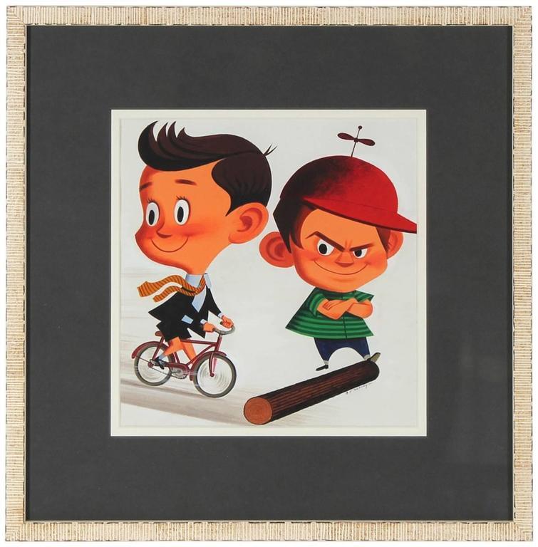 "Clyde F. Seavey Sr. Figurative Art - ""Obstructionism"" Mid Century Illustration of Children in Gouache"