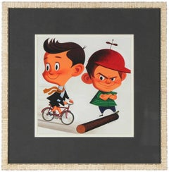 """Obstructionism"" Mid Century Illustration of Children in Gouache"