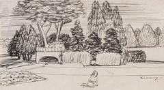 San Francisco City Park, Late 1930s, Ink on Paper Drawing