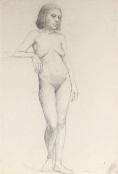 Delicate Figure Study in Charcoal, Circa 1920s