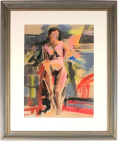 Colorful Bright Female Nude Figure in Pastel, 20th Century