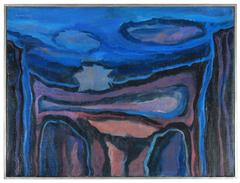 """""""The Blue Cliffs II"""" Mid Century Abstract"""
