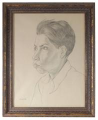 Portrait of a Mexican Boy, Graphite Drawing, Circa 1947