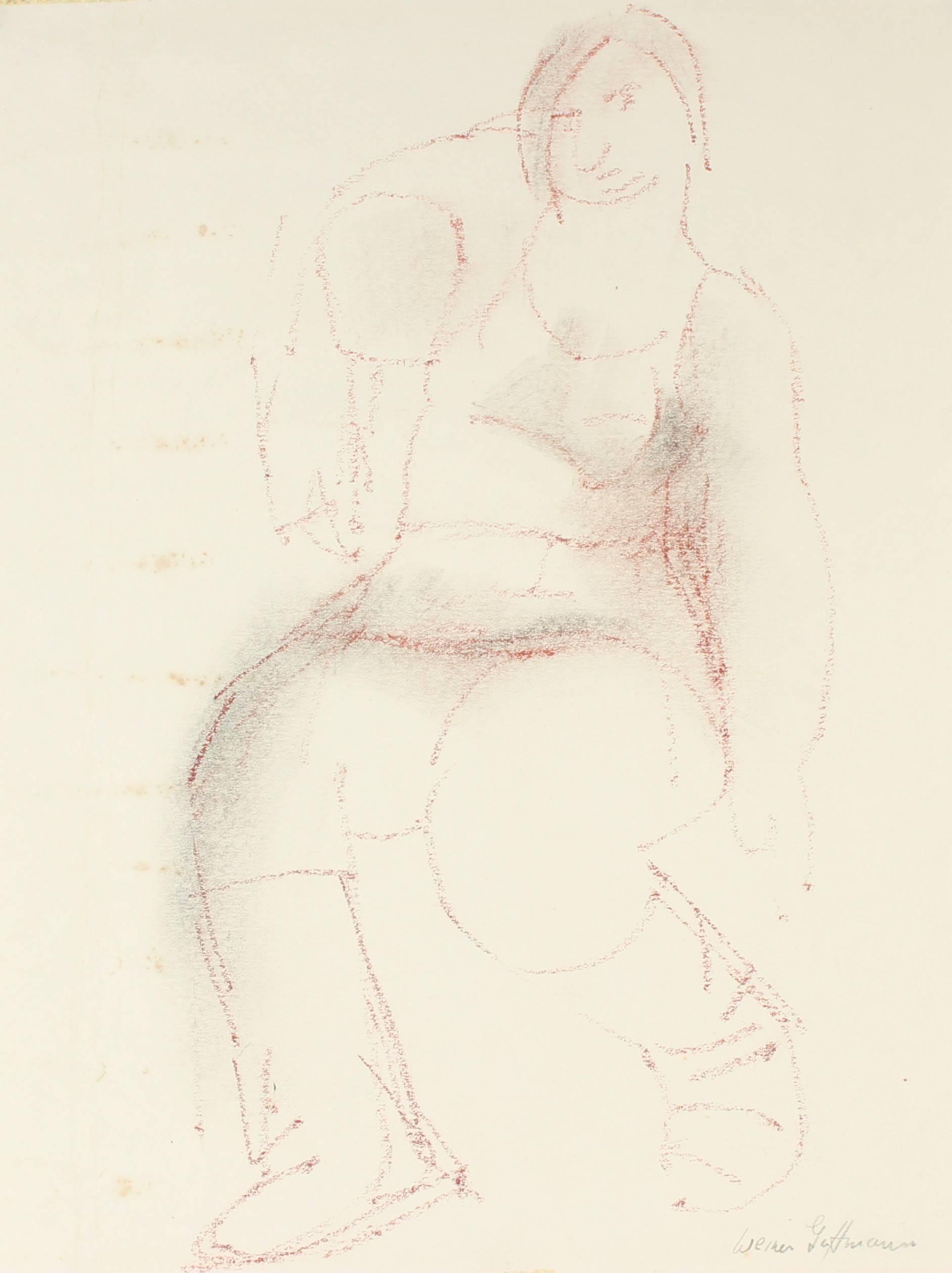 Minimal Expressionist Portrait in Graphite, Mid 20th Century
