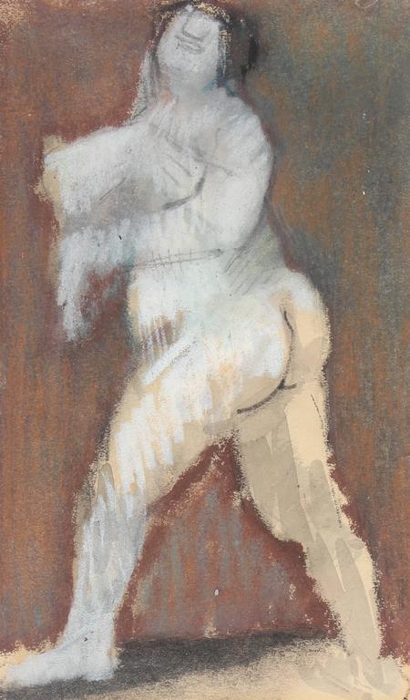 Mid Century Nude in White Pastel