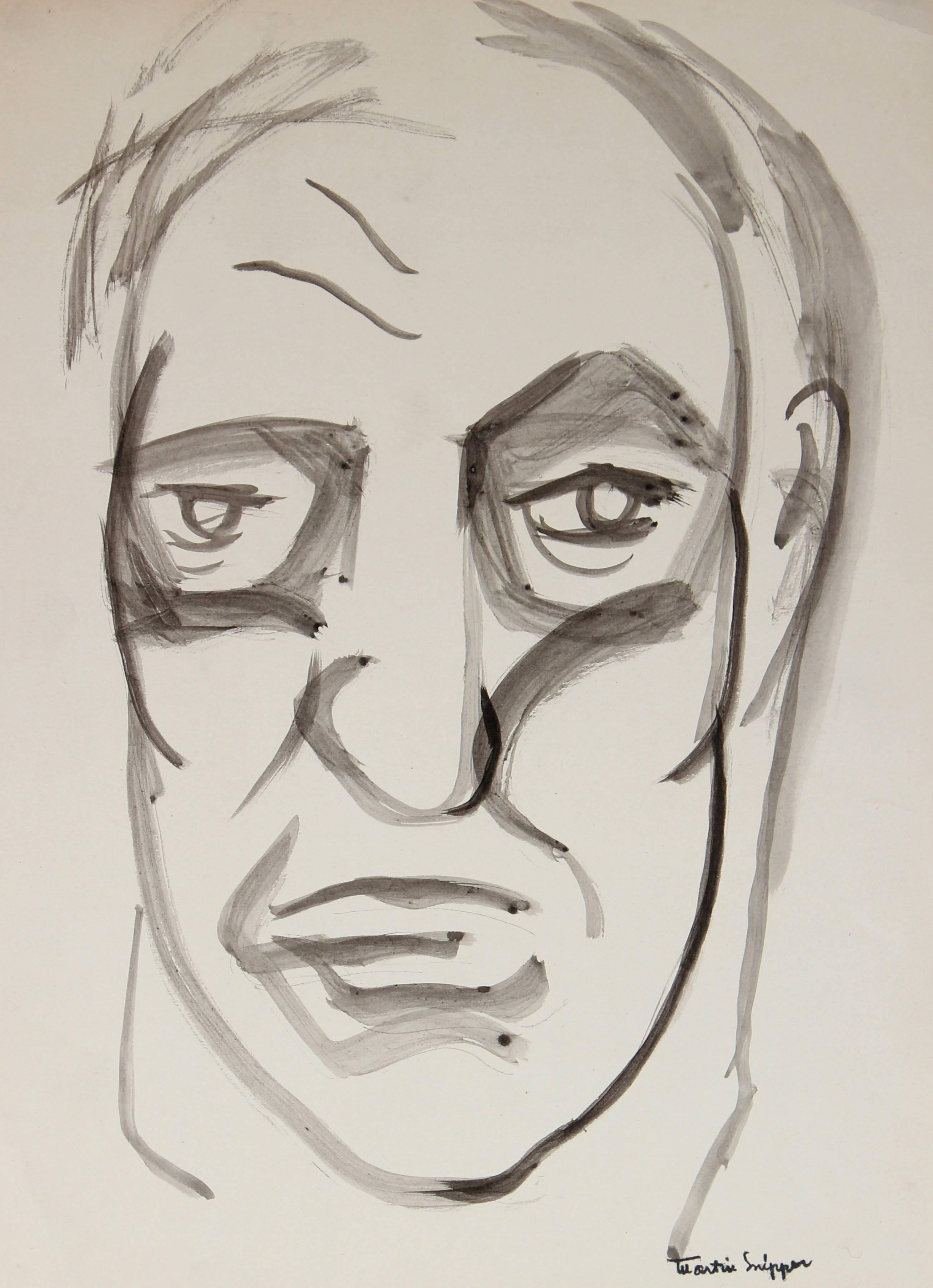Mid Century Portrait of a Man, Ink on Paper
