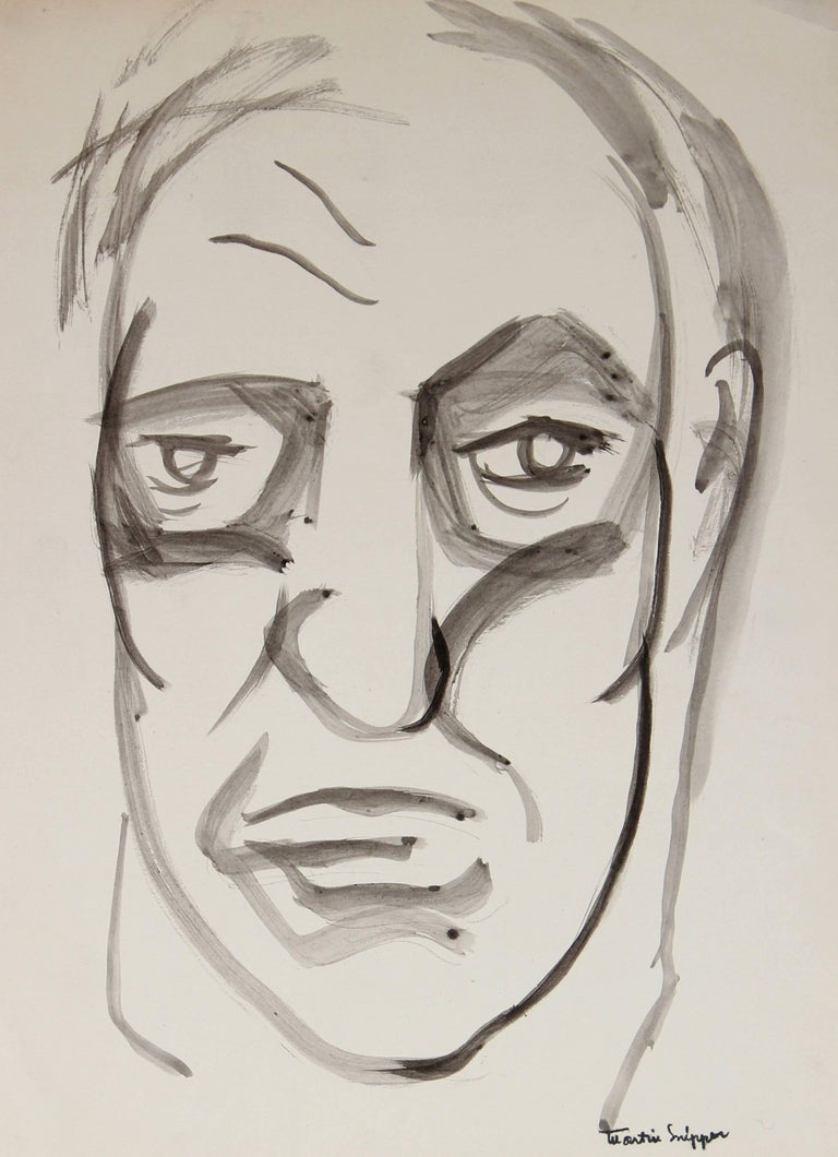 Mid Century Portrait of a Man, Ink on Paper - Art by Martin Snipper