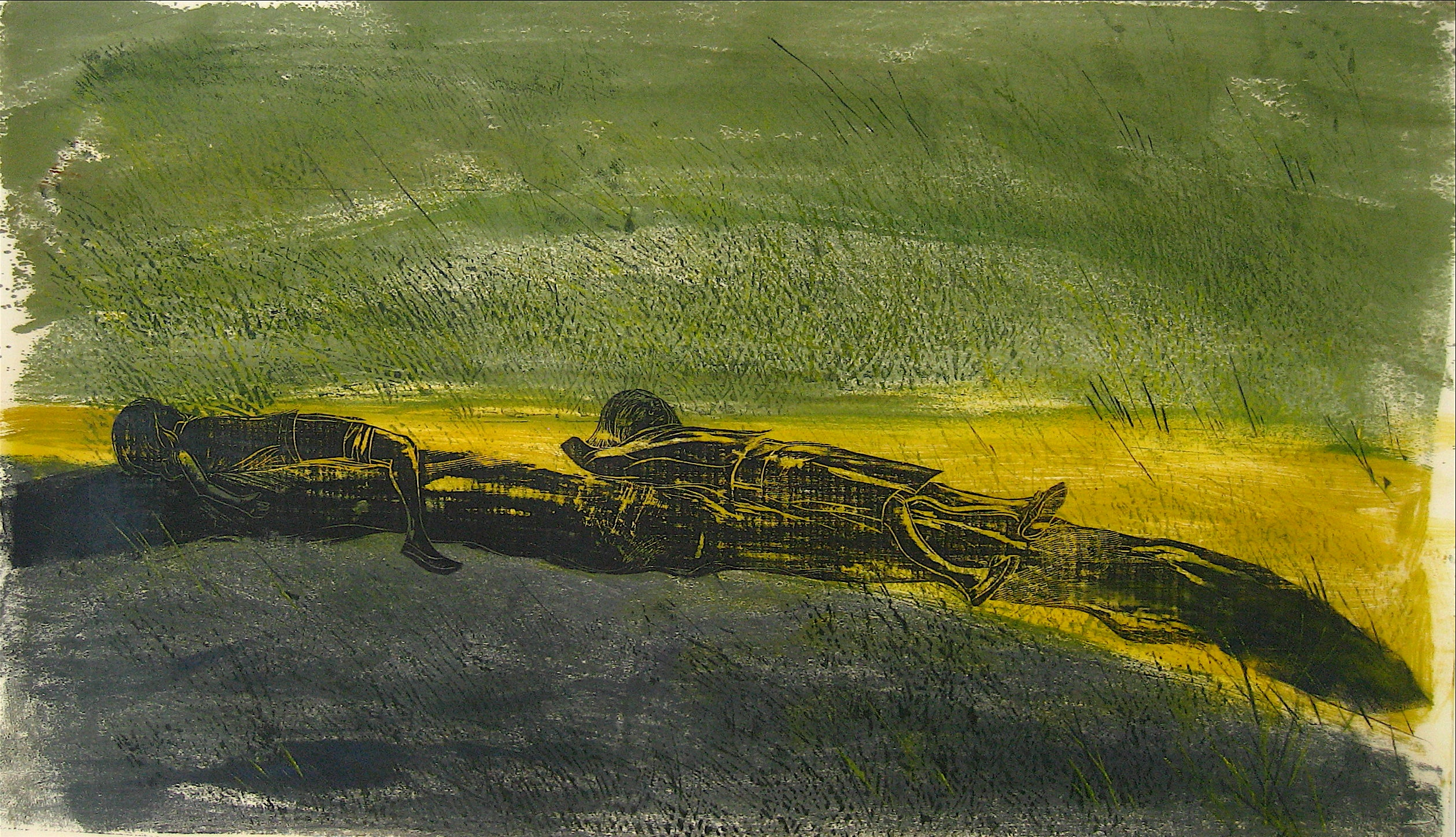 """""""The Meadow"""" Large Abstracted Woodcut Print, 1968"""