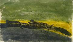 """The Meadow"" Large Abstracted Woodcut Print, 1968"