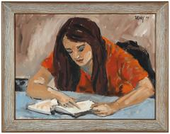 "1970s ""Concord, Carla"" Portrait of a Woman Reading, Oil on Canvas"