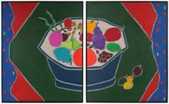 """Iced Fruit"" Large Diptych Still Life in Acrylic, 20th Century"
