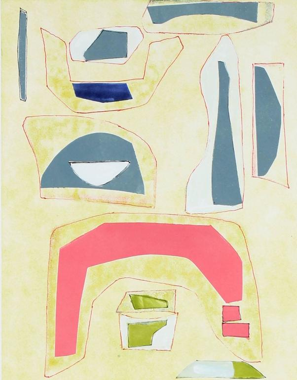 "Rob Delamater Abstract Print - ""Build V"" Mixed Media Monotype, 2015"