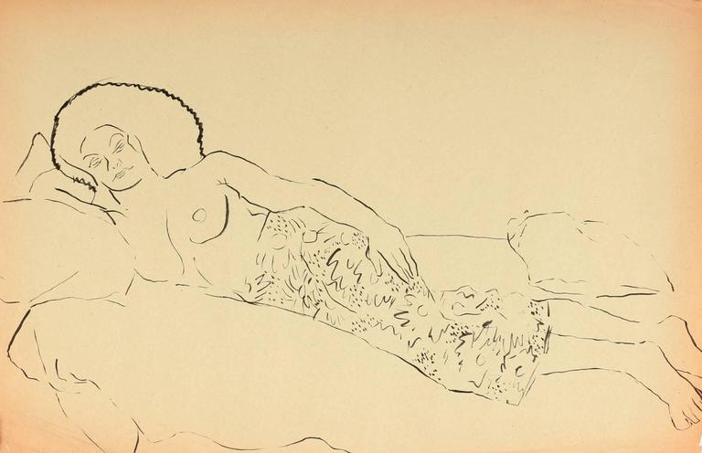 Helen Sewell Rennie Figurative Art - Reclining Female Figure, Pen & Ink Drawing, Circa 1940s