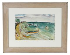 Mid Century Watercolor Beach Scene