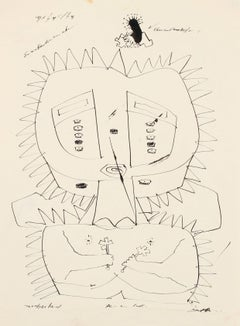 Surrealist Figurative Ink Drawing, 1960s