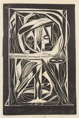 """Katharsis"" Modernist Abstract Linocut, Circa 1960"