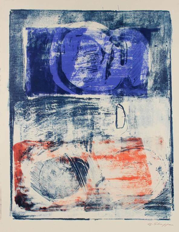 Gary Lee Shaffer Abstract Print - Abstract Expressionist Lithograph in Orange and Blue