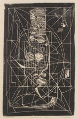 """""""Negra"""" Linocut, Edition 9/12, Mid Century"""