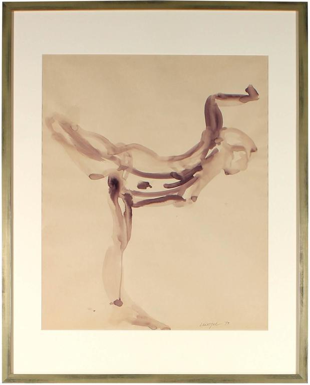 """Dancing Woman"" Aubergine Ink Wash"