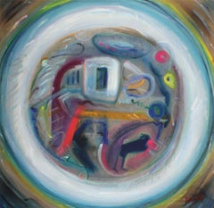"""""""Dialectic"""" Large Abstract Expressionist Oil, 1966"""