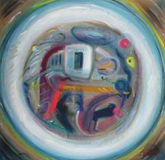 """Dialectic"" Large Abstract Expressionist Oil, 1966"
