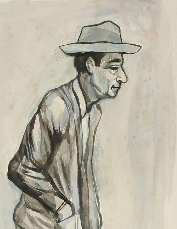 Expressionist Portrait in Gouache, Mexico, Circa 1947 For Sale 1