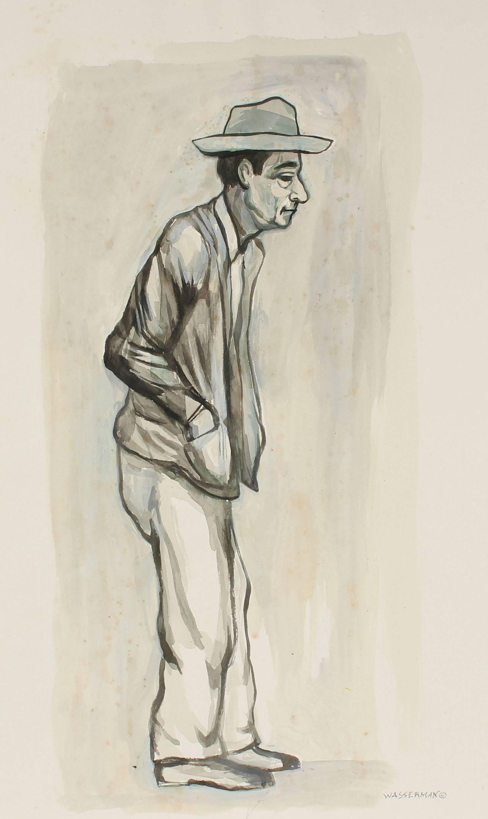 Expressionist Portrait in Gouache, Mexico, Circa 1947