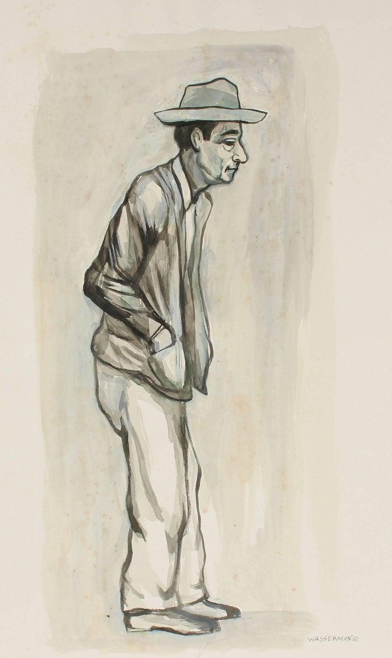 Expressionist Portrait in Gouache, Mexico, Circa 1947 - Art by Gerald Wasserman
