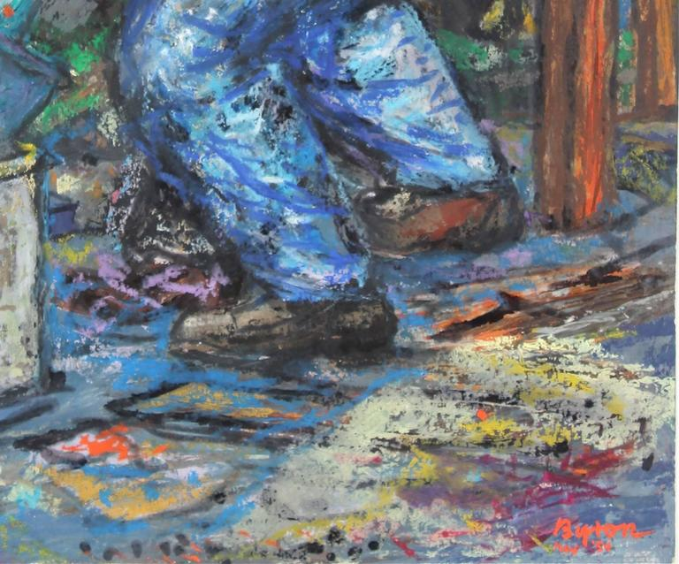 Portrait of a Worker with a Shovel, Pastel on Paper Drawing, 1954 - Expressionist Art by Byron Randall